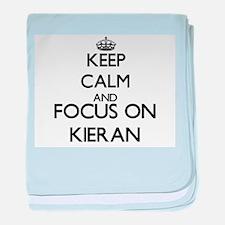 Keep Calm and Focus on Kieran baby blanket