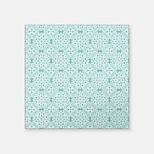 "Aqua Sky & White Lace Tile Square Sticker 3"" x 3"""