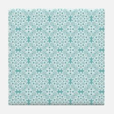 Aqua Sky & White Lace Tile 2 Tile Coaster