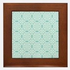 Aqua Sky & White Lace Tile 2 Framed Tile