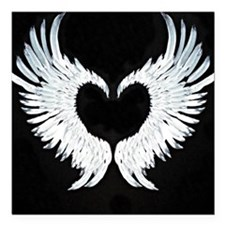 "Angelwings heart Square Car Magnet 3"" x 3"""