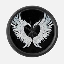 Angelwings heart Large Wall Clock
