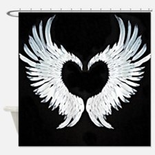 Angelwings heart Shower Curtain
