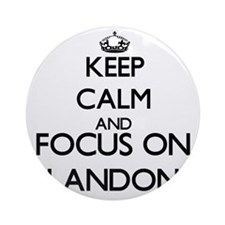 Keep Calm and Focus on Landon Ornament (Round)