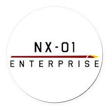 NX-01 Enterprise Dark Round Car Magnet