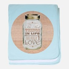 Mason Jar Best Things are Made with Love baby blan