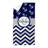 Blue chevron Beach Towels
