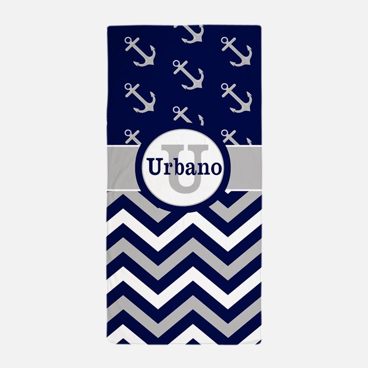 Navy Gray Chevron Anchors Personalized Beach Towel