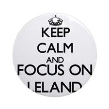 Keep Calm and Focus on Leland Ornament (Round)