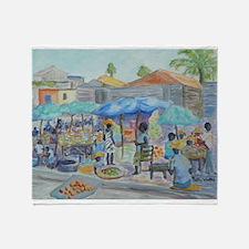 SHOPPING IN HAITI Throw Blanket