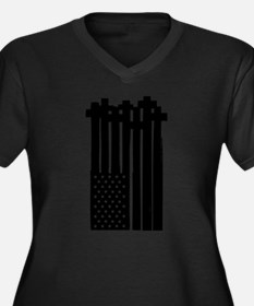 American Flag Crosses Plus Size T-Shirt