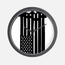American Flag Crosses Wall Clock
