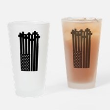 American Flag Crosses Drinking Glass