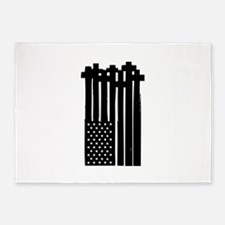 American Flag Crosses 5'x7'Area Rug