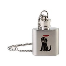 Christmas Labradoodle Flask Necklace