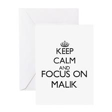 Keep Calm and Focus on Malik Greeting Cards