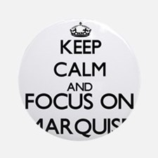 Keep Calm and Focus on Marquise Ornament (Round)