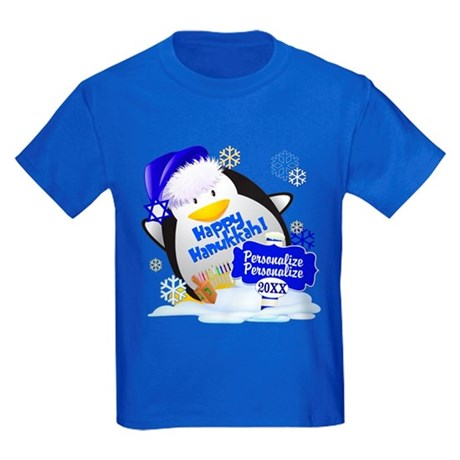 CafePress Happy Hanukkah Kids Dark T-Shirt