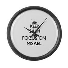 Keep Calm and Focus on Misael Large Wall Clock