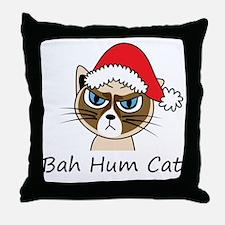Bah Hum Cat Throw Pillow