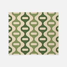 Vintage Olive Green Striped Throw Blanket