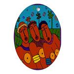 African Folkart Oval Ornament