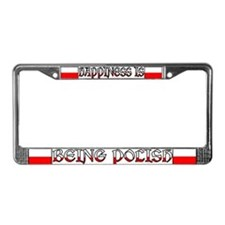 Happiness Is Being Polish License Plate Frame