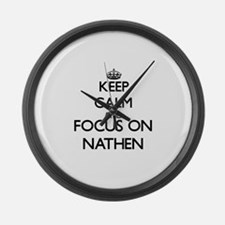 Keep Calm and Focus on Nathen Large Wall Clock