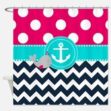 Pink Navy Dots Chevron Shower Curtain