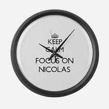 Keep Calm and Focus on Nicolas Large Wall Clock