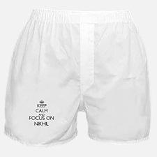 Keep Calm and Focus on Nikhil Boxer Shorts