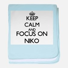 Keep Calm and Focus on Niko baby blanket