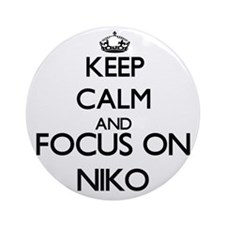 Keep Calm and Focus on Niko Ornament (Round)