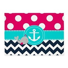 Navy Pink Dots Chevron Anchor 5'x7'Area Rug