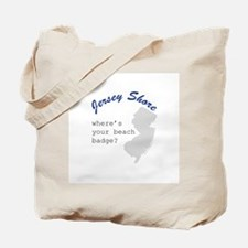 """Jersey Shore """"Where's Your Beach Badge"""" Tote Bag"""