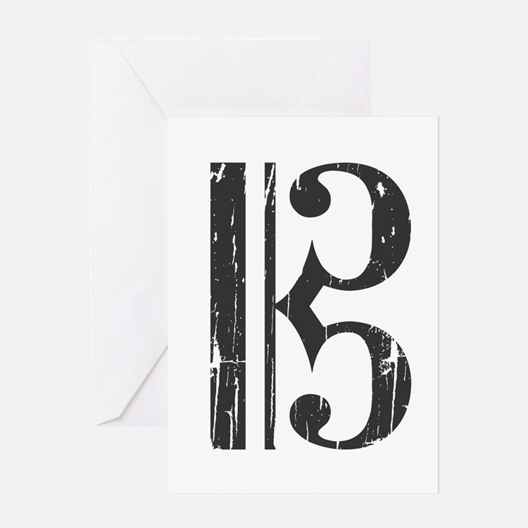 Distressed Alto Clef, C Clef Greeting Cards