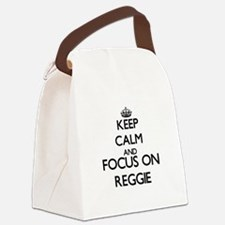 Keep Calm and Focus on Reggie Canvas Lunch Bag