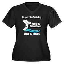 VALUE SWIMMI Women's Plus Size V-Neck Dark T-Shirt