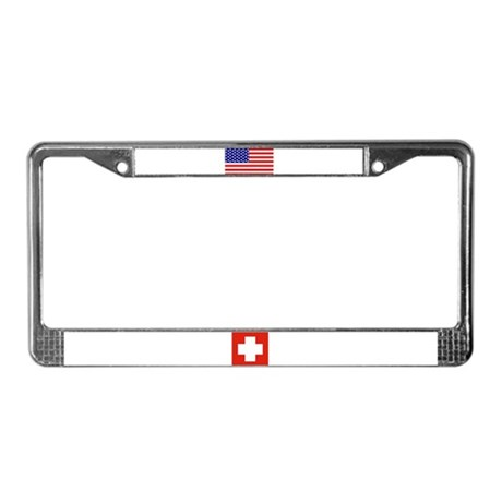 Swiss & USA Flags License Plate Frame
