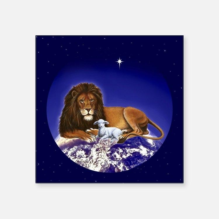 "Cute Lion and lamb Square Sticker 3"" x 3"""
