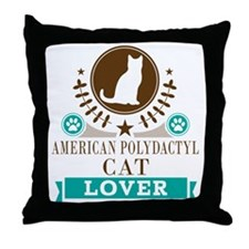 American Polydactyl Cat Throw Pillow