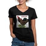 Red Caps Women's V-Neck Dark T-Shirt