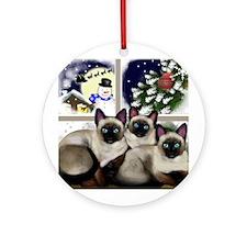 SIAMESE CATS CHRISTMAS SANTA Ornament (Round)