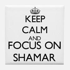 Keep Calm and Focus on Shamar Tile Coaster