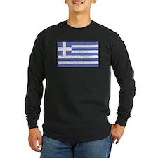 Distressed Greece Flag Long Sleeve T-Shirt