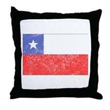 Distressed Chile Flag Throw Pillow