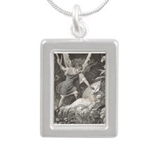 Puck and Queen Titiana Silver Portrait Necklace