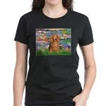 Lilies (2) & Doxie (LH-Sable) Women's Dark T-Shirt