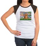 Lilies (2) & Doxie (LH-Sable) Women's Cap Sleeve T