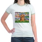 Lilies (2) & Doxie (LH-Sable) Jr. Ringer T-Shirt